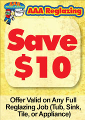 Save $10, Offer Valid on Any Full Reglazing Job (Tub, Sink, Tile, or Appliance)
